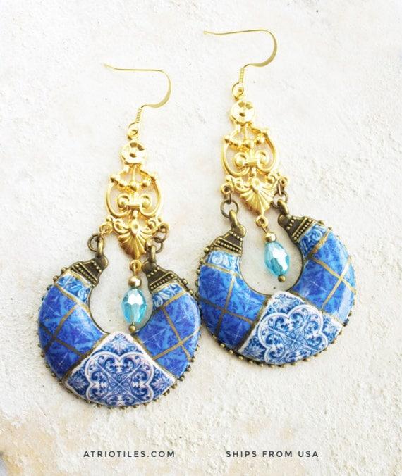Earrings Portugal Chandelier Tile Azulejo  LISBON Antique (see  Facade photo) Blue Bohemian Royal