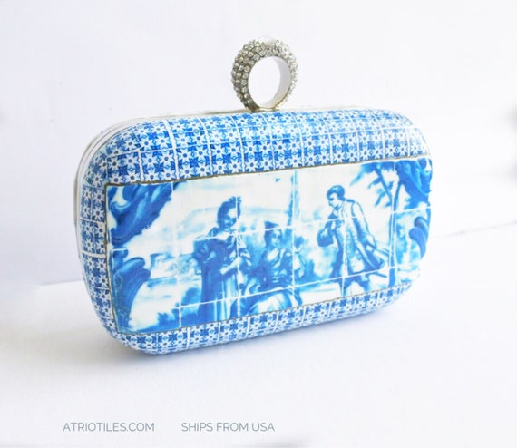Purse Clutch Portugal Tile Azulejos Antique Metal - 1837  Pasteis de Belem Delft  - OOAK Majolica Porcelain