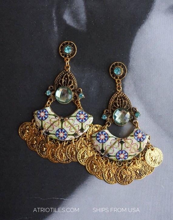 Portugal Antique Azulejo Tile Earrings, Green -Majolica - Mosaic Tribal Turkish Bohemain (see photos of actual Facade) - Ovar