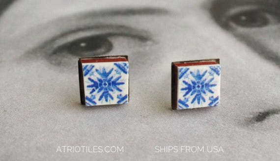 STUD Earrings Portugal Tile Azulejo Stud Portuguese Antique Porto Blue Stainless Steel Hypo allergenic Gift Box included SHIPS from USA 1639