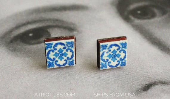 TUD Earrings Portugal Tile Stainless Steel Posts Antique Azulejo Tile - BRAGA Blue! Hypo Allergenic Ships from USA - Gift Box included 760