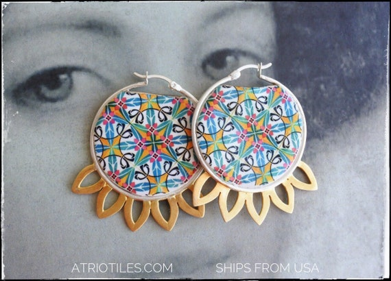 Earrings Hoops Portugal Antique Azulejo Tile  -Majolica - Mosaic Tribal Turkish Bohemain  Ilhavo  Green Red Yellow - Gift Boxed