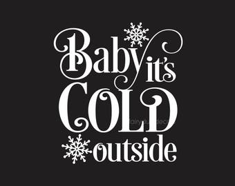 Baby It's Cold Outside, Glass Block Decal, Vinyl Sticker, Holiday Lights, DIY decoration, Christmas Glass Block, Snowflake decal, Winter Art