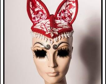 Poor Kitty... Bloody White Cat Kitten Hat with Pearls Fascintor Headdress Wedding