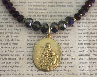 Cherub Angel, Angel Necklace, Cherub Necklace, Religious Jewelry, Vintaj Jewelry, Vintage Look, Brass Necklace, Crystal Necklace, Gift Ideas