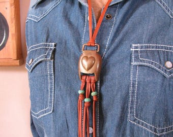 Vintage Brass Civil War Era Harness Buckle with Heart Deerskin Leather Fringe Tassel or Choker Lariat Necklace