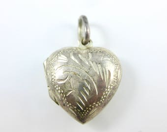 Vintage Hand Etched Sterling Silver Heart Charm Pendant 925