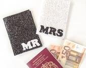 Monochrome Glitter Mr and Mrs Passport Covers Set