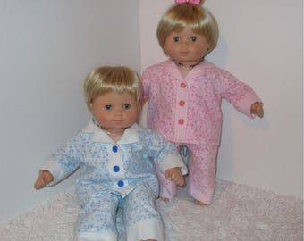 """Pink and Blue Matching Flannel Pajamas, Fits 15"""" Dolls // Bitty Twin Clothes, Twin Pajamas, Boy and Girl PJs, American Girl, AG Twin"""