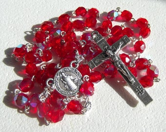 Saint Benedict Handmade Rosary Red or Blue