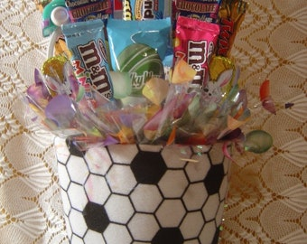 "Easter ""Soccer"" Basket Candy Arrangement"