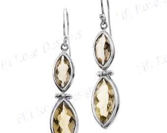 """1 5/16"""" Lemon Quartz 925 Sterling Silver Earrings"""