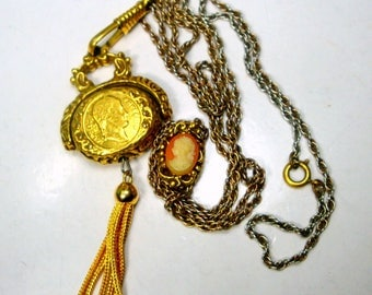 Gold CAMEO Slide Pendant Necklace with Tassel, Victorian Style Filigree & Chains, 1970s Mint Renaissance Flirtation