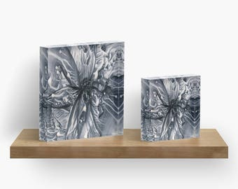 Liquid Lace Milky Way or ANY of My ART on Acrylic Block / Shelf, Mantel, Desk Art, Paperweight / Small Space Art / Made to Order in 2 Sizes