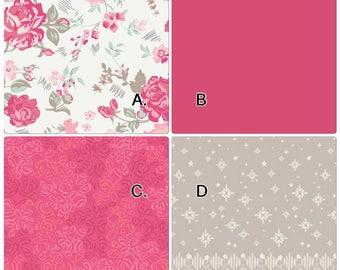 Baby Bedding Crib Set Hot Pink Beige Tan Cream Vintage Floral