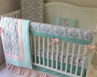 Baby Bedding Crib Set Boho Dreamcatchers Baby Girl Mint Teal Coral Peach Gray Ready to Ship