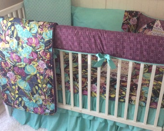 Baby Girl Purple Teal Turquoise Aqua Floral Crib to Toddler Bedding Complete Set with Blanket