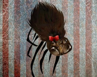 """50% Off SALE Fine Art Print - """"Ms. Spider on her Own"""" - Medium Sized Giclee Print - 8.5x11 or 8x10  - Cute Little Spider with a Red Bow"""