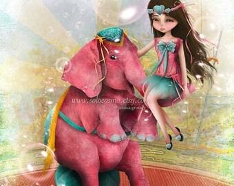 "50% Off SALE Circus Art Girl and Pink Elephant ""Chelsea y Beatriz Senora del Elefante Rosa"" Medium Giclee Fine Art Print 8x10 or 8.5x11"