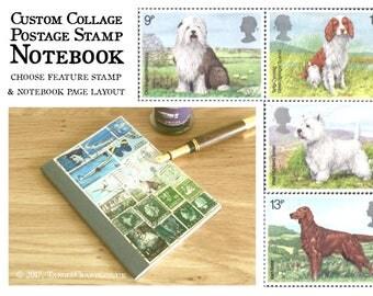 Notebook for Dog Lover, Pocket Journal | Sheepdog, Spaniel, West Highland Terrier, Red Setter | upcycled dog stamp custom collage landscape