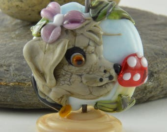 DOG, toadstool, flower  Glass Sculpture Collectible, Focal Bead, Izzybeads SRA