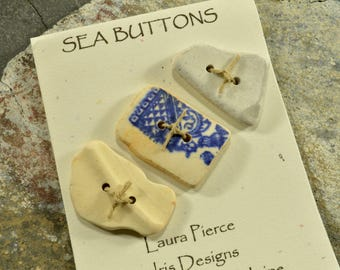 I got the blues- a set of three  authentic  Maine sea pottery toggle  buttons eco friendly embellishment for sweaters scarves and purses