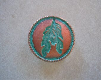 """Copper Feather Concho With Green Patina 1 1/4"""""""