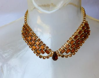 1950s Rhinestone Collar Necklace Amber Topaz Prom Formal Cocktail