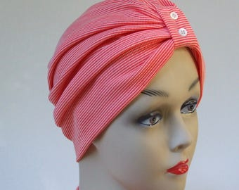 Women Turban Hat, Pearl Button Detail, Soft, Ribbed Jersey Poly and Wool Cap, Chemo Hat, Sleepcap, Cancer Headwear, L - XL