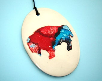 Patriotic Buffalo Ornament – red white and blue – bison Image – Buffalo NY – expatriate gift – home décor – alcohol ink art - buffalove