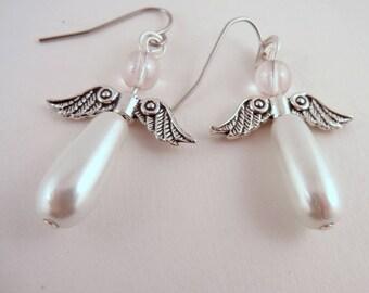 angel earrings glass pewter