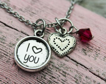 Custom I love you Charm Necklace