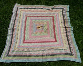 Colorful c1930s Hand Crocheted Tablecloth, Country or Primitive Accessory