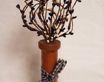 Vintage Wooden Spool with Berries