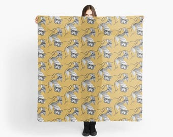 Butterflies and Vines large art scarf
