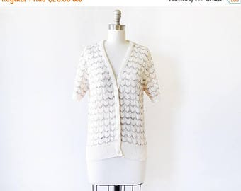 20% OFF SALE white short sleeve cardigan, vintage 70s pointelle cardigan sweater, chevron eyelet button up sweater, large l