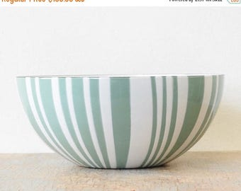 "20% OFF SALE vintage Cathrineholm striped bowl, mid century Cathrineholm seafoam green zebra stripe bowl, 9.5"" enamel bowl"