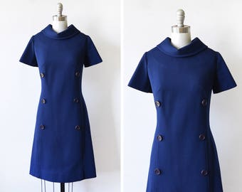 60s mod dress, vintage 1960s navy dress, retro mod scooter dress, medium m