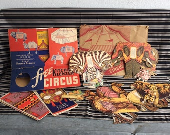 Vintage Kitchen Klenzer Circus Advertising Ad Supermarket Store Display Paper Ephemera Camel, Elephant, Lion, Zebra 1930's
