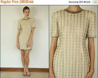 SUMMER SALE Vintage 80's does 50's Wedding Sequin Pearls Champagne Party Cocktail Bodycon Mini dress S M