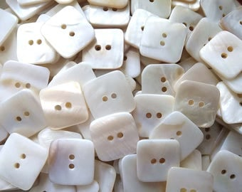Square MOP buttons - Mother of Pearl Shell Buttons 20mm - set of 4   (BN658)