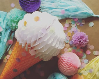 Pre Order 12/14 Ice Cream Cone Decorations first birthday party pastel dessert summer baby bridal shower honeycomb reusable classroom office