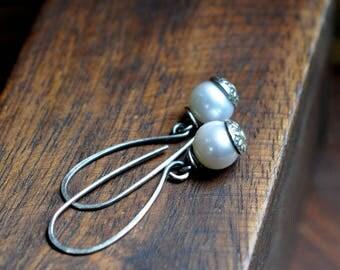 Sterling Silver Pearl Earrings, Sterling Silver Earrings, Hand Stamped Dangly Earrings, Boho Earrings