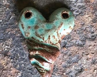 Handmade Turquoise Ceramic Heart Pendant with Twist