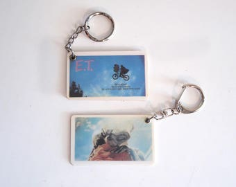 Two vintage E.T. 80s movie scene keychains - set of TWO