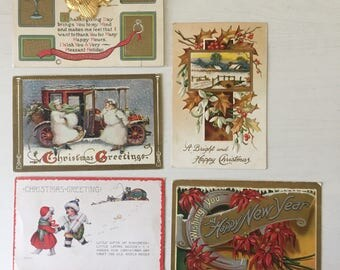 1905-1920 5pc Vintage Holiday Postcards
