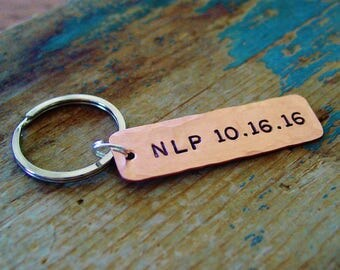 Monogram Keychain, Hammered Copper, Date Keychain, Personalized, Graduation Gift, Custom Keychain,Gift for Men,Teen Gift,New Driver Keychain