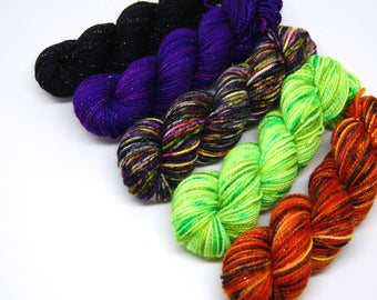 "Halloween ""Neons"" Glam Rock Sparkle Sock Yarn - Mini Skein Yarn Kit - 438 Yards - Superwash Merino Nylon"