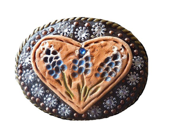 Western Unisex Blue Bonnet Heart Belt Buckle with Swarovski Crystal Rhinestones