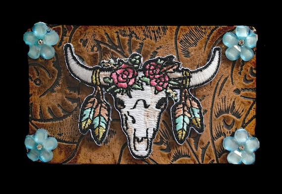 Western Leather Belt Buckle with Embroidered Cow Skull